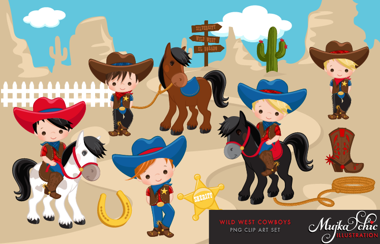 Wild West Cute Cowboy Clipart- Red & Blue Instant Download