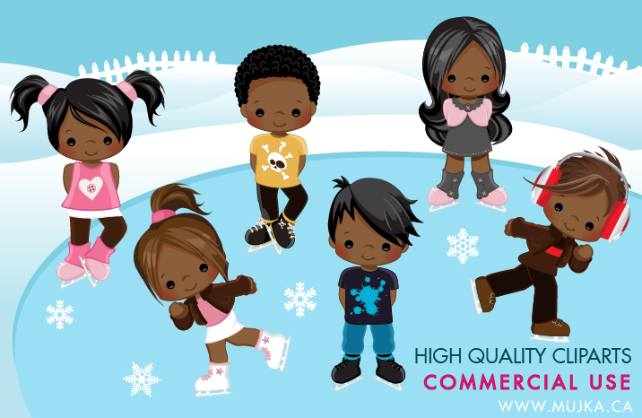 African American ice skating clipart with cute dark skin