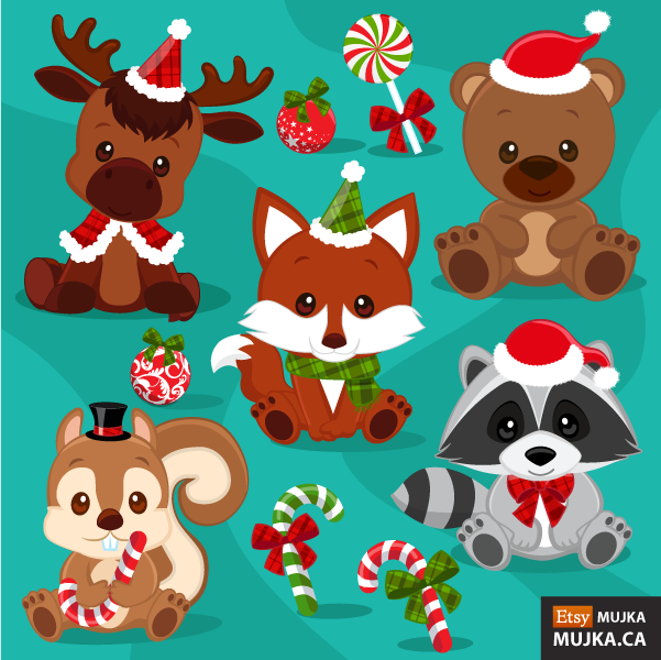 CHRISTMAS-BABY-WOODLAND-ANIMALS-CLIPART-02