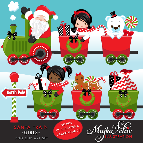 SANTA-TRAIN-girls-CLIPART