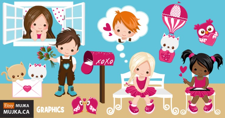 Valentine's day graphics, cliparts