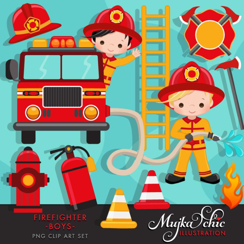 firefighter boys clipart