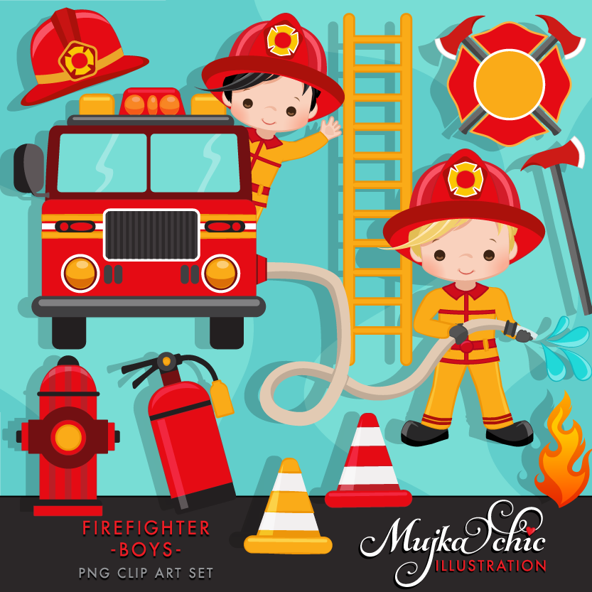 firefighter boys clipart