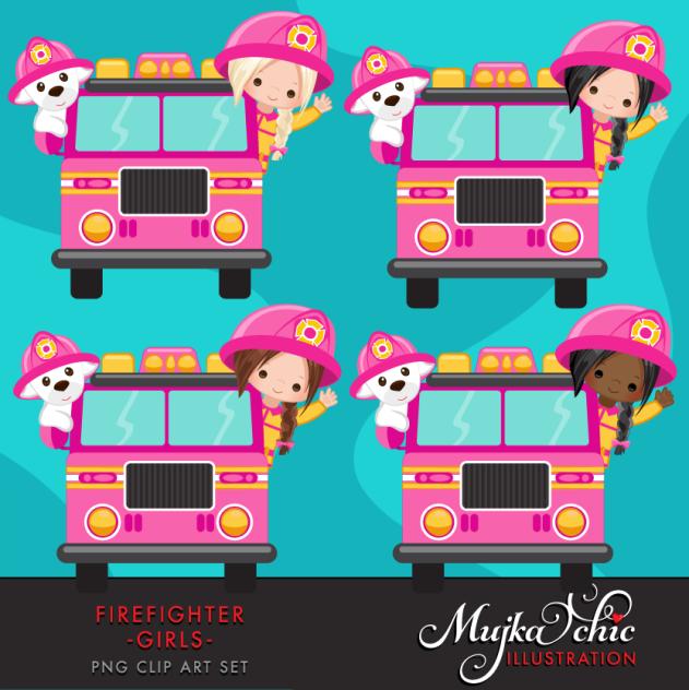 FIRE FIGHTER GIRLS PINK CLIPART