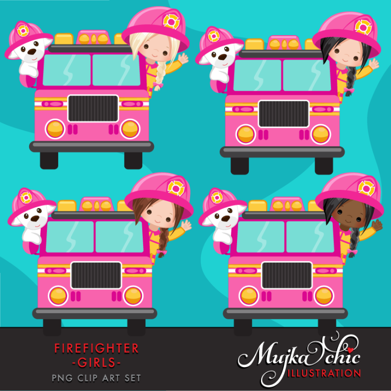 FIRE FIGHTER GIRLS PINK CLIPART