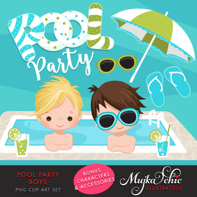 pool party clipart boys