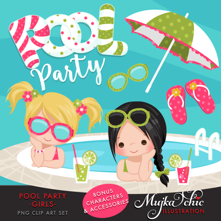 pool party clipart girls