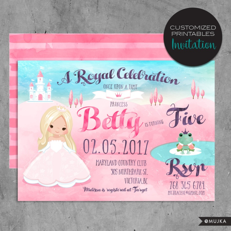 fairy tale princess invitations printables